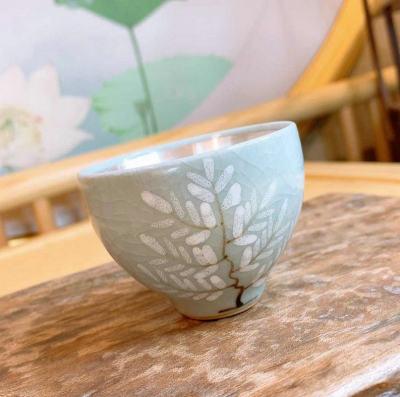 银瓷康 足银本色茶具茶杯-汝瓷杯 瓷包银茶杯 纯银茶杯