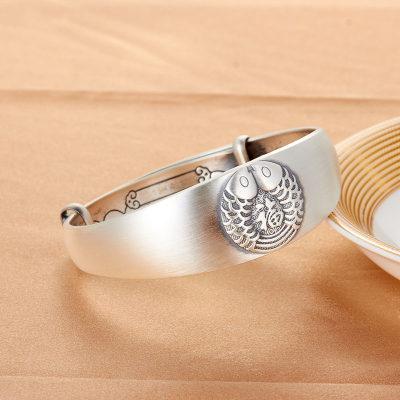 腕儿 复古S999纯银手镯鲤鱼送福银镯子女推拉宽面手环