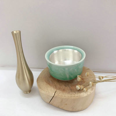 银瓷康 足银本色茶具茶杯-竹子款 瓷包银茶杯 纯银茶杯