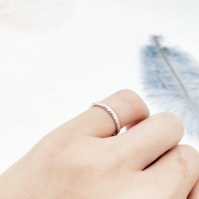 花爱 S925银 电白 指环 戒指