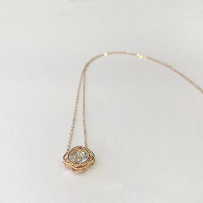 幸福之镜18K金玫瑰色清新钻石套链
