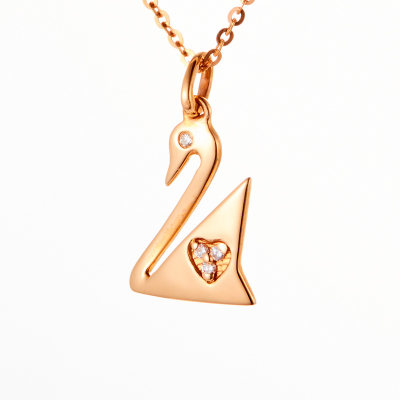 爱情圣事-18k金玫瑰色钻石套链