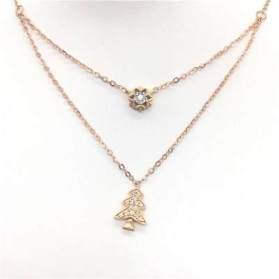 幸福圣诞AU750金分色钻石套链