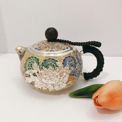 匠义-足银本色景泰蓝檀木茶具-花开富贵花丝壶