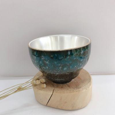 银瓷康-足银本色茶具-大号四季杯