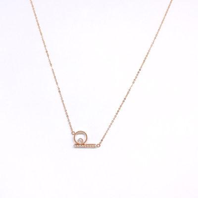 鄂金匠18K金玫瑰色钻石套链-002款式