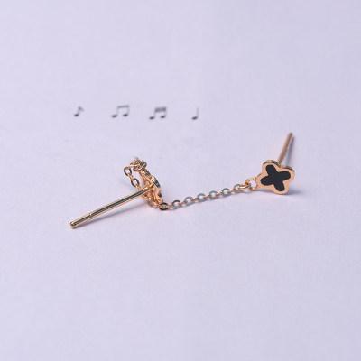 幸福呢喃 专柜正品 AU750金玫瑰色滴胶素金耳线 送女友
