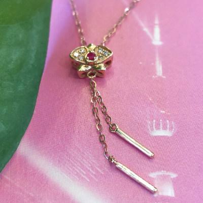 幸福蝴蝶兰专柜正品 小清新18K金镶钻项链 日常穿搭必备