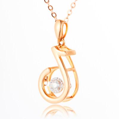 幸福赞歌 18K金玫瑰色钻石套链AU750镶钻个性创意乐府音符气质冷淡风彩金项链女