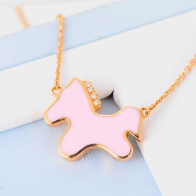 幸福活力 AU750金玫瑰色钻石烤彩套链