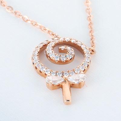 爱情如食 AU750金玫瑰色钻石项链