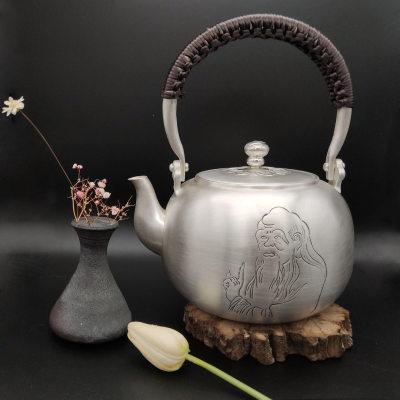 艺魂足银本色茶具礼品-老子提梁壶(足银壶钮)