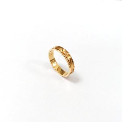 幸福左右18k金玫瑰色钻石男款戒指