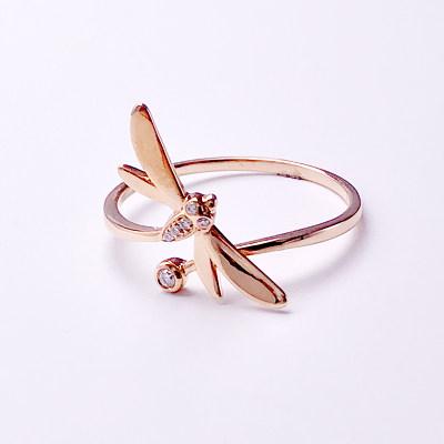 幸福珠宝专柜正品 幸福感悟微幸福幸福之歌AU750金玫瑰色钻石女戒