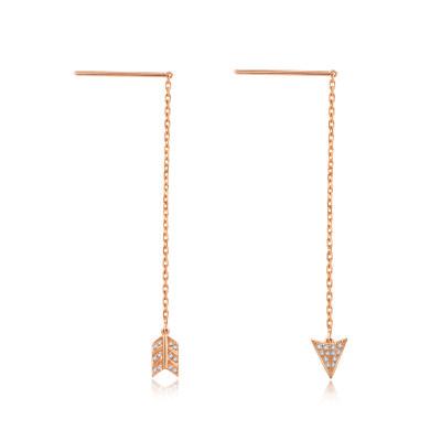 幸福猎人AU750金玫瑰色钻石耳线