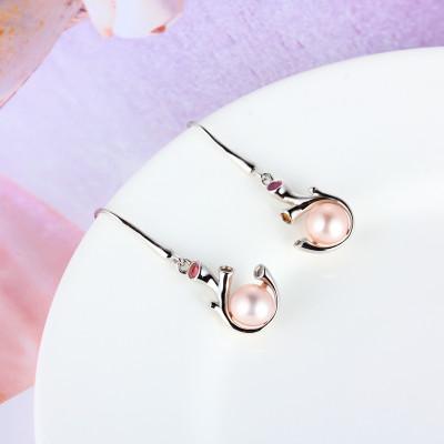 百缘百合 S925银电白珍珠耳坠