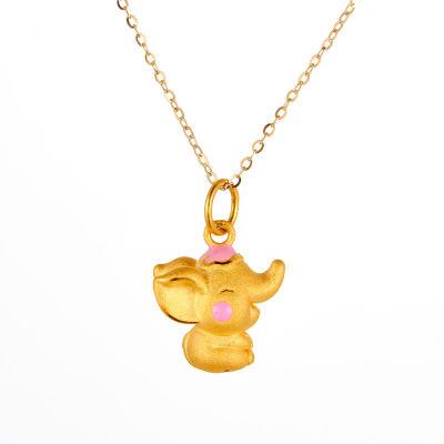 幸福精灵 3D硬金素金滴胶ins风吊坠 可爱小象黄金吊坠 送宝宝送女友