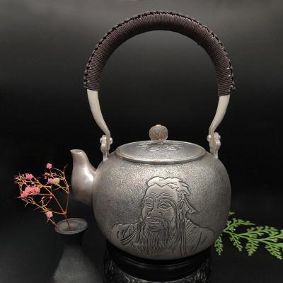 艺魂足银本色檀木茶具-孔子提梁壶(麻花纹菩提子壶钮)