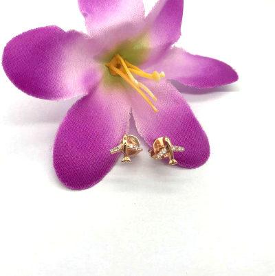 18K金玫瑰色钻石耳钉