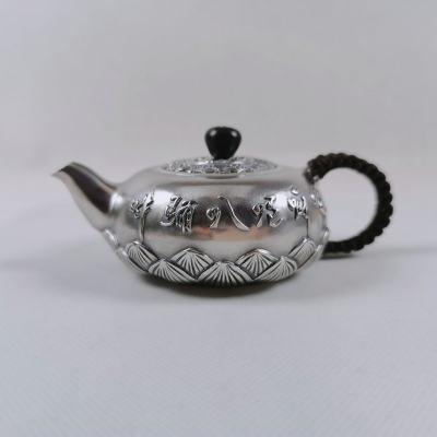 匠义-足银仿古茶具-六字真言泡茶壶