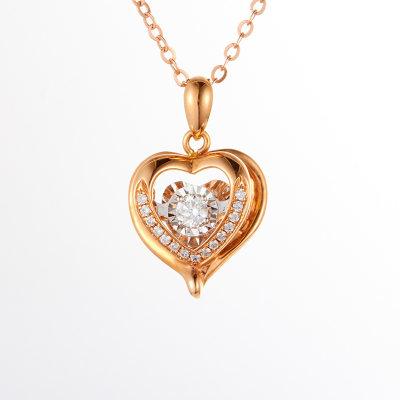 幸福热恋18k金玫瑰色钻石吊坠锁骨链简约气质玫瑰金吊坠生日情人节礼物送女友 (热卖款)