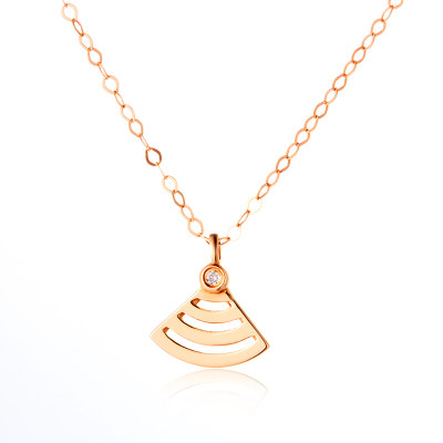 唤醒幸福-AU750金玫瑰色钻石镶嵌套链 镂空K金WiFi创意扇形珠宝 生日节日送女友