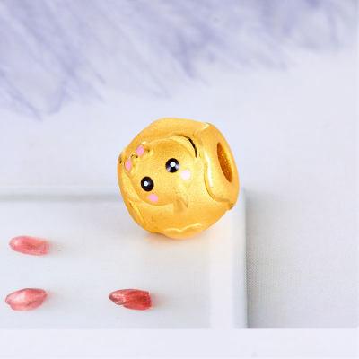 幸福精灵 3D硬金素金滴胶ins风串珠 小象手绳串珠黄金 女潮时尚可爱首饰