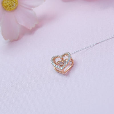 爱情如痴18K金玫瑰色钻石吊坠