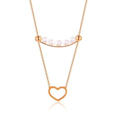 幸福积分系列18K金玫瑰色珍珠项链(心形款)