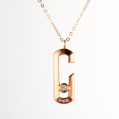 幸福C位-4D18K玫瑰金钻石套链 创意字母C项链