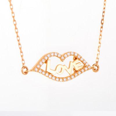 幸福轻吻AU750金玫瑰色钻石套链时尚表白吊坠锁骨链送女友礼品