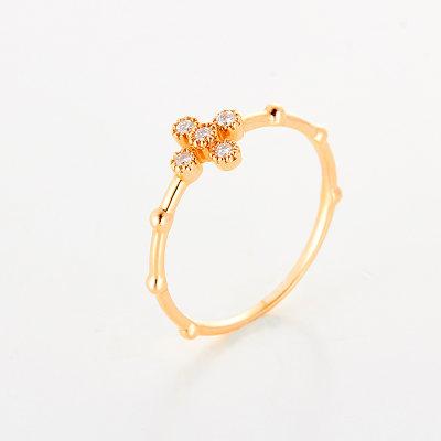 幸福单身AU750 18k玫瑰金钻石女戒韩版时尚镶钻指环简约个性单戒指礼物