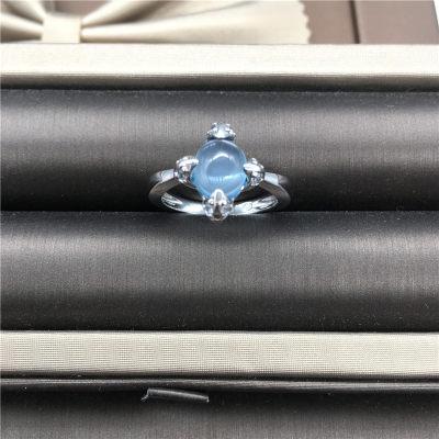 幸福猎人S925银托帕石戒指天然彩宝时尚蛋型个性指环送女友妈妈礼物