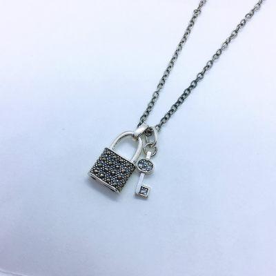 泰银尚情照S925银立方氧化锆钥匙锁包套链