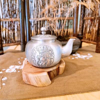 匠义-足银本色茶具-三教合一端把壶