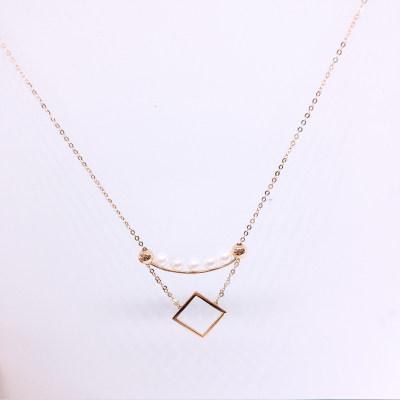 幸福积分 18K珍珠项链(方形)