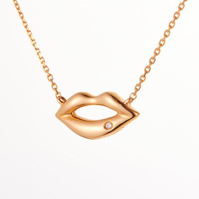 幸福轻吻AU750金玫瑰色钻石套链时尚个性设计吊坠项链送女友礼品