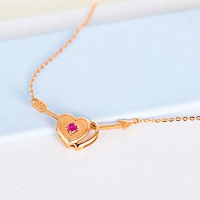 邂逅幸福 AU750玫瑰色钻石项链