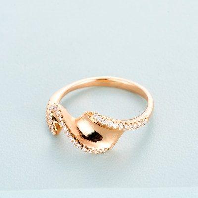 MEZN 8K金玫瑰色钻石戒指AU750玫瑰金戒指扭转冷淡风简约韩版指环镶钻戒指