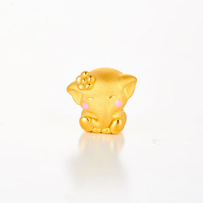 幸福精灵 3D硬金素金滴胶ins风串珠 黄金小象串珠 时尚可爱太平有象