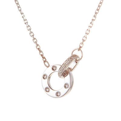 幸福依旧 AU750金白色钻石套链简约几何钻石吊坠锁骨链送女友礼物