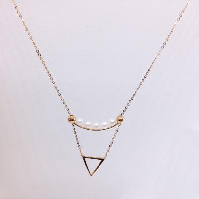 幸福积分 18K珍珠项链(三角形)