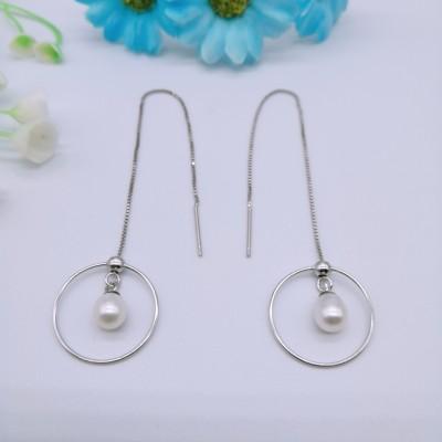 S925银电白珍珠耳线