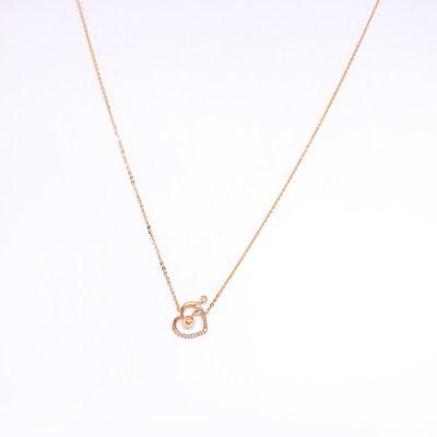 幸福唯美18K金玫瑰色钻石项链