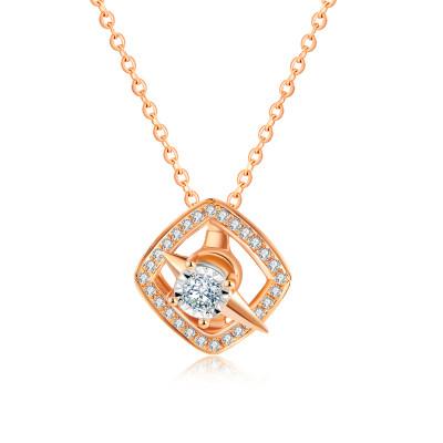 幸福发现18k金镶嵌天然钻石项链玫瑰金套链轻奢小清新