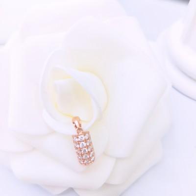 幸福证据AU750金玫瑰色钻石吊坠