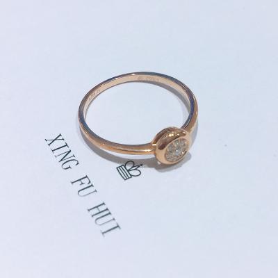 AU750金玫瑰色钻石镶嵌女款戒指