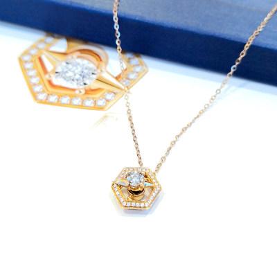 幸福发现B款18K玫瑰金镶嵌天然钻石套链女小清新轻奢款彩金项链