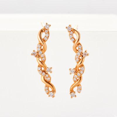 幸福少女-AU750金玫瑰色钻石耳饰
