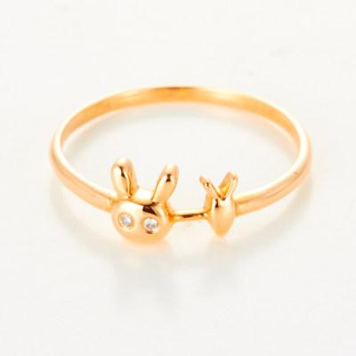 幸福果实AU750金玫瑰色钻石戒指18k金清新甜美兔子指环女节日礼物